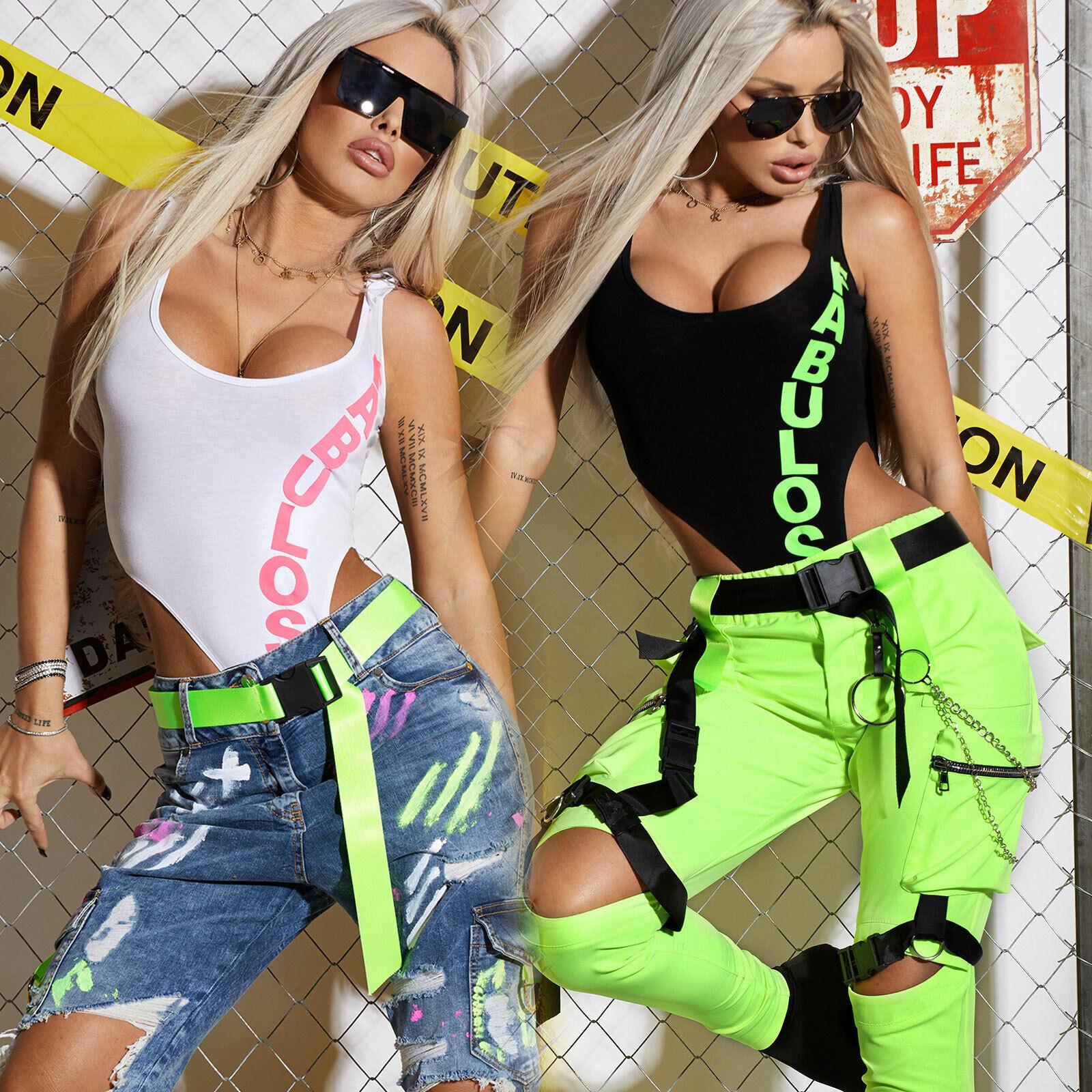 By Alina Donna Body Bodie Bodysuit alta gamba scollo T-SHIRT T-SHIRT T-SHIRT PRINT NEON XS-M b94e95