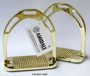 FLEXI SAFETY STIRRUPS HORSE RIDING BENDY IRONS GERMAN SILVER GOLDEN COLOR NEW