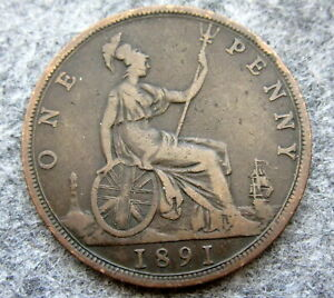 GREAT-BRITAIN-QUEEN-VICTORIA-1891-ONE-PENNY