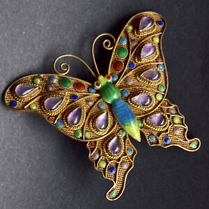 Vintage-Chinese-Export-BUTTERFLY-BROOCH-St-Silver-GOLD-WASH-Enamel-Amethysts