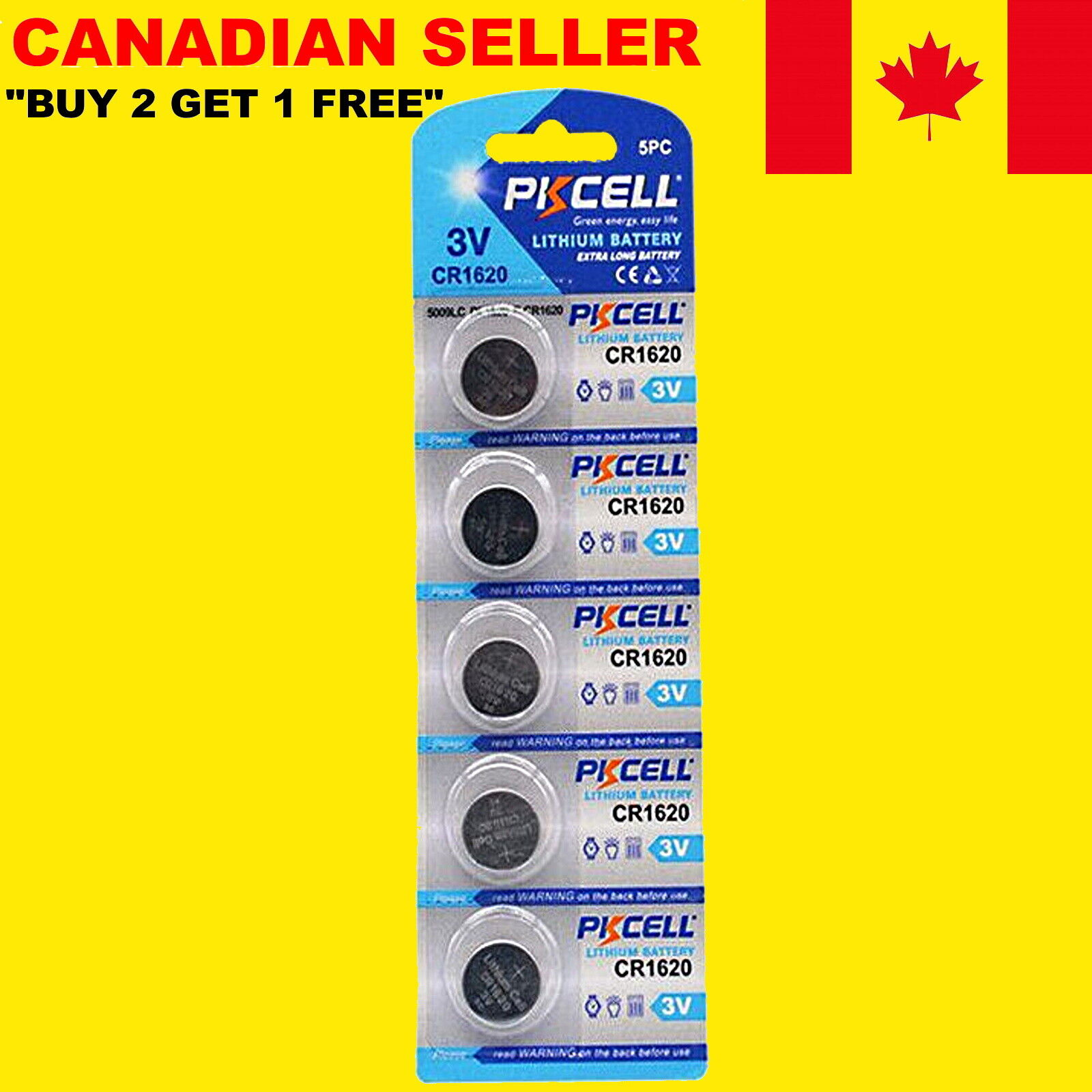 PKCELL CR1620 Lithium Battery 3V DL1620 Cell Button Coin Batteries 5 X