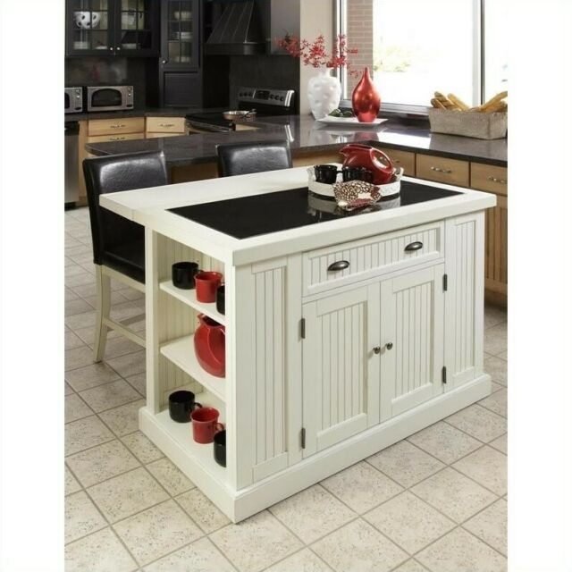 Home Styles Nantucket Kitchen Island in Distressed White Finish