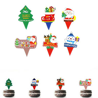 50X Christmas Cake Topper Xmas Cupcake Toppers Birthday Wedding Party Decor ^*