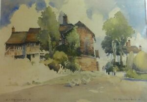 Original-old-Watercolour-painting-of-Feckenham-Worcestershire-by-A-D-Houghton