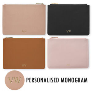 PERSONALISED-MONOGRAM-Womens-Ladies-Leather-Pouch-Clutch-Hand-Bag-Gift