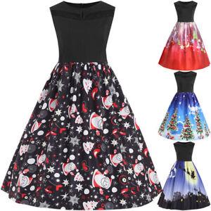 AU-Plus-Size-Womens-Xmas-Christmas-Santa-Sleeveless-Party-Skater-Swing-Dresses
