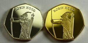 Pair-of-ROBIN-HOOD-SHERWOOD-FOREST-24ct-Gold-Collectors-Album-Token-Medal-Coin