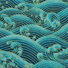 Sea Green Waves Japanese Oriental Fabric Cotton Fat Quarter FQ #F0025