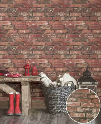 PREPASTED BRICK WALLPAPER`RUSTIC TOUCH INTRICATELY PRINTED REALISTIC BRICK LOOK