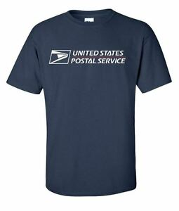 Usps postal t shirt navy blue full 2 color postal logo for Usps t shirt shipping