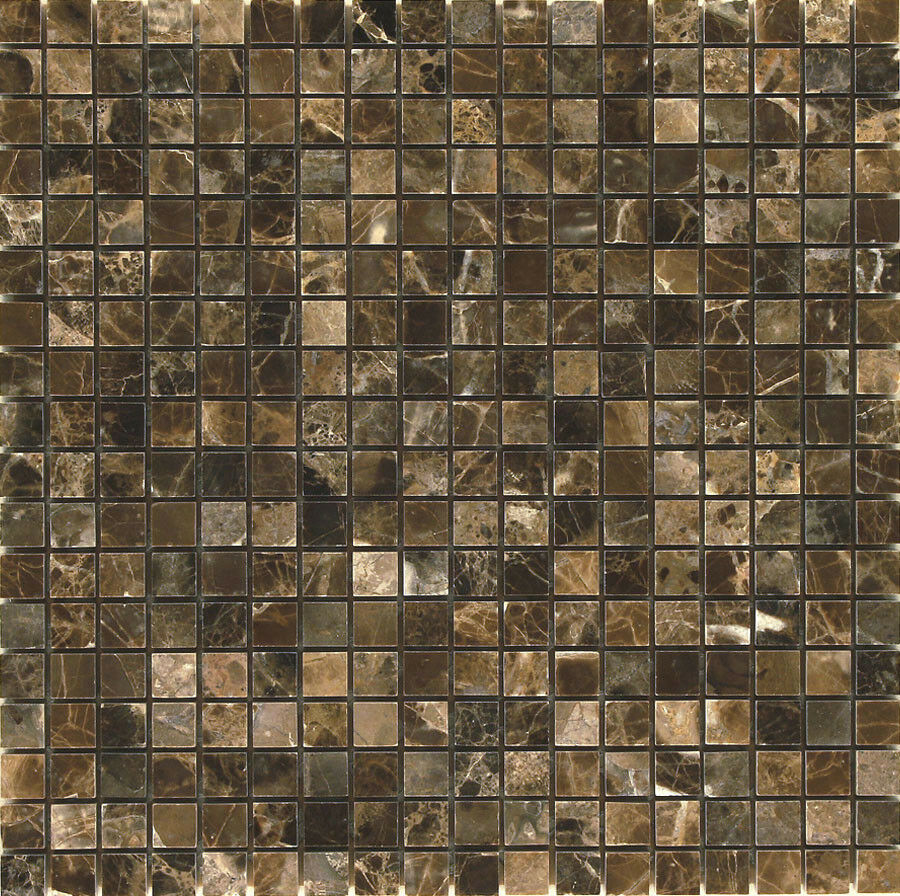Emperador Dark 5 8  x 5 8  Square Marble Polished Mosaic. ( 11.00 per Sheet)
