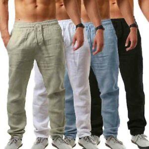 Mens-Summer-Casual-Cotton-Linen-Elasticated-Loose-Drawstring-Yoga-Pants-Trousers
