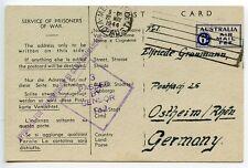 AUSTRALIA 1944 German POW postcard camp 13  Murchison to Germany censor