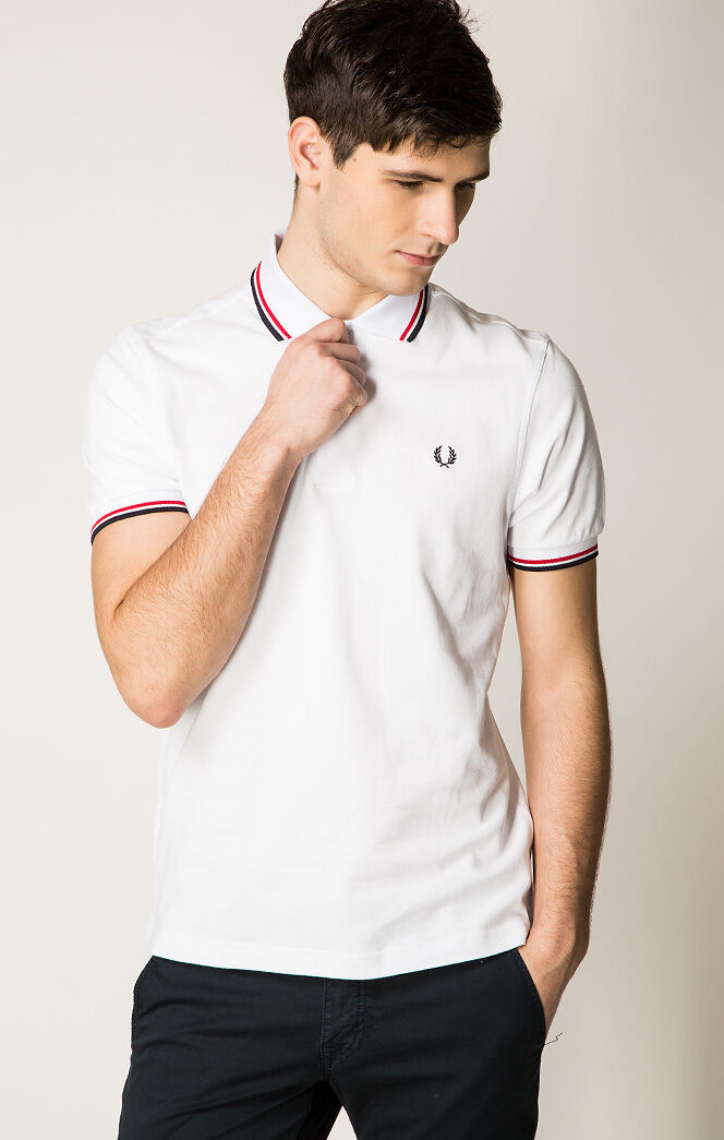 Fred Perry Men's White Twin Tip Polo Shirt Size  XL