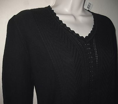 NWT Cotton bl sweater S Black Crochet knit V-neck Sigrid Olsen Layering Pullover