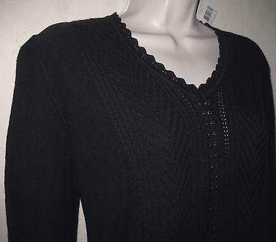 NWT Cotton bl sweater S Black Crochet knit V-neck Sigrid Olsen Layering Pullover