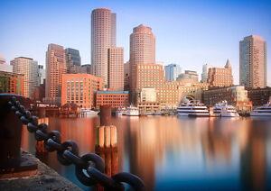 BOSTON-SKYLINE-NEW-A3-CANVAS-GICLEE-ART-PRINT-POSTER-FRAMED