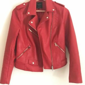 86e88424c Details about ZARA RED faux leather jacket motorbike style size S