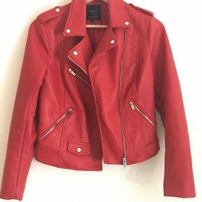 f401f4a9a ZARA RED faux leather jacket motorbike style size S | eBay