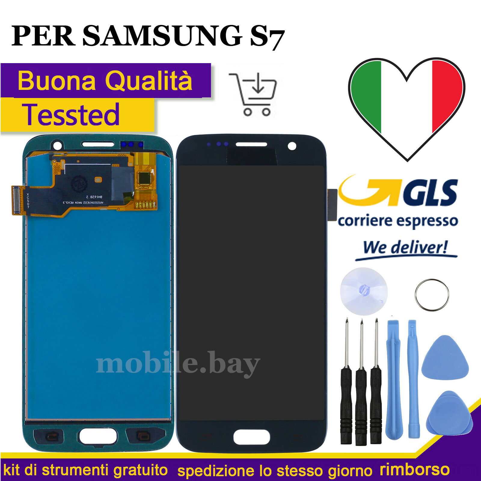 Samsung Galaxy: DISPLAY LCD PER SAMSUNG GALAXY S7 SM-G930F TOUCH SCREEN VETRO SCHERMO NERO
