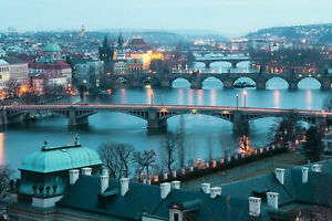 PRAGUE-SKYLINE-CANVAS-WALL-ART-HOME-DECOR-PICTURE-PRINT-FRAMED-20X30-INCHES