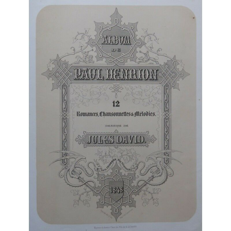HENRION Paul Album 12 Romances Piano Chant 1848 partition sheet music score
