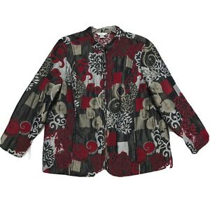 CJ-Banks-Full-Zip-Front-Jacket-Womens-Size-2X-XXL-Red-Gray-Mock-Neck