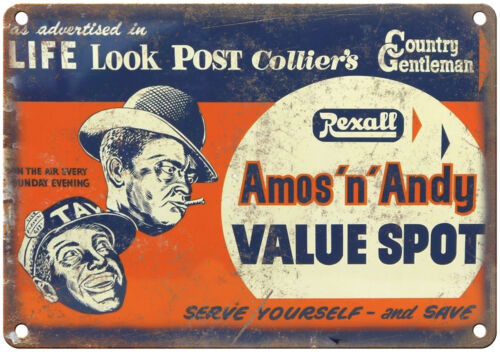 """Porcelain Look Amos n Andy Post Colliers 10/"""" x 7/"""" Reproduction Metal Sign"""