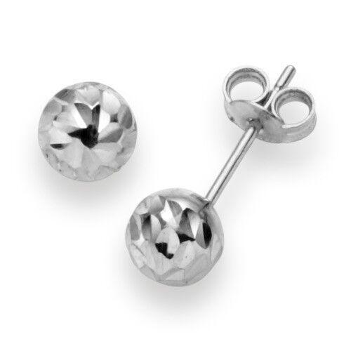 0 1 4in Ball Earrings Stud Earrings 585 gold White gold diamond-cut Ladies