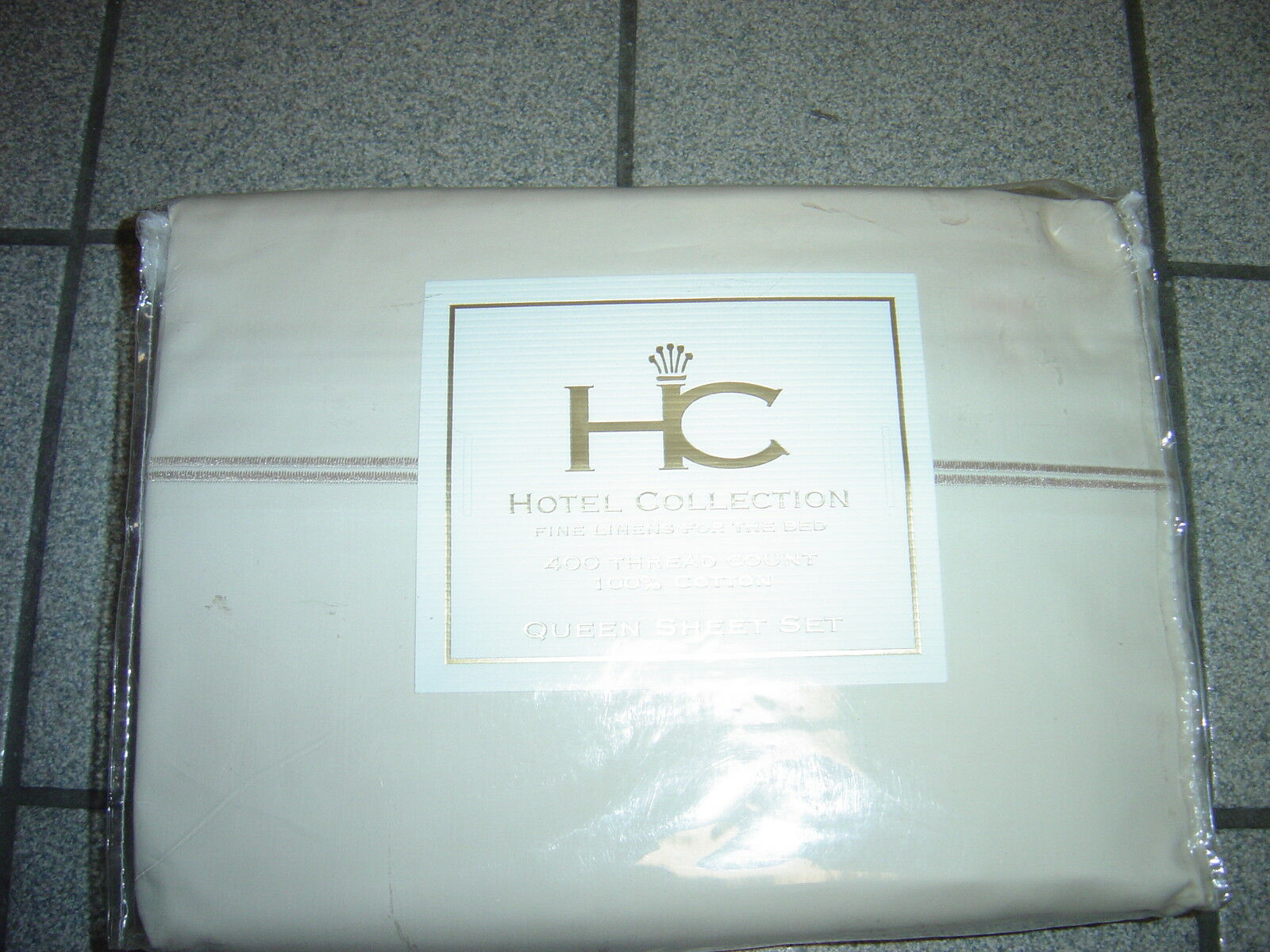 NEW QUEEN BEIGE BEIGE TRIM  HOTEL  COTTON SHEETS 400TC