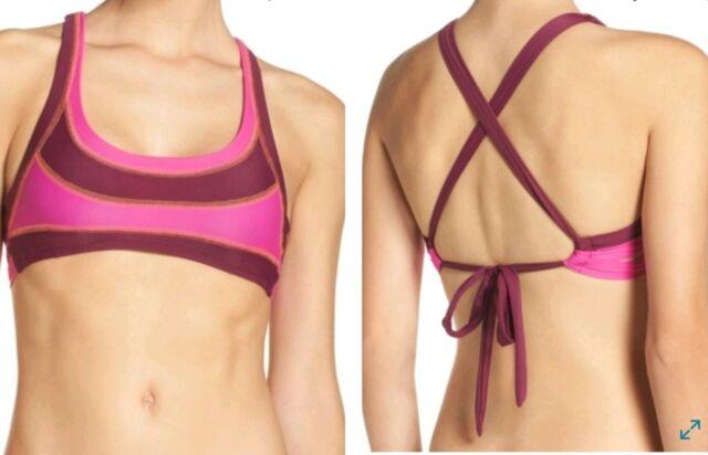 BCA Rebecca Virtue Swimwear One Piece Monokini Cut Out Striped Halter Sz M