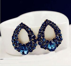 New-Women-Charm-Drop-Luxury-Crystal-Blue-Rhinestone-Earring-Stud-Dangle-Earrings