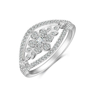 Solid-14K-White-Gold-0-36-CT-Real-Natural-Cluster-Diamond-Floral-Vintage-Ring