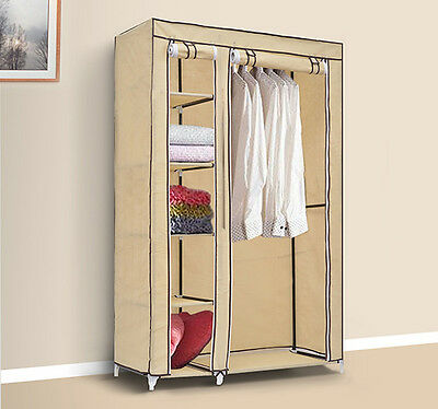 Double Wardrobe with Clothes Hanging Rail Storage Shelves Clothing Organizer New