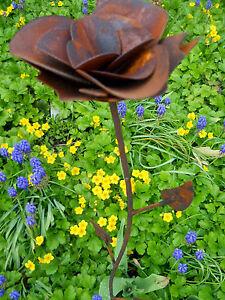 FLEUR ROSE PATINE Décoration de jardin métal rouille Piquet idée ...