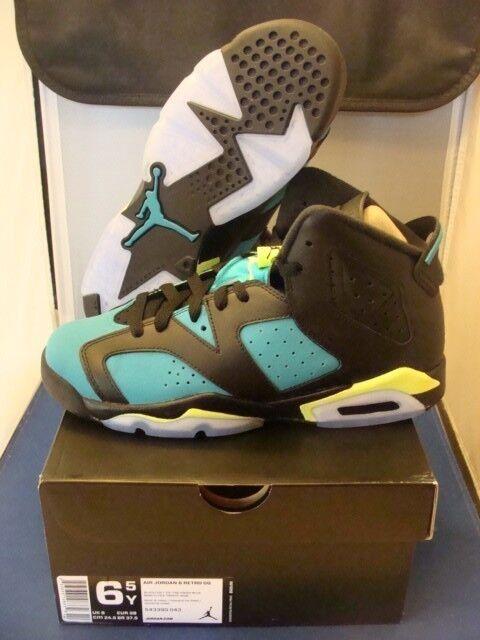 Brand New Nike Jordan Retro 6 Turbo Green Size 6.5 NEW Boys