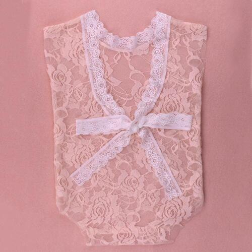Lace Bow QK Newborn Baby Girls Photo Props Outfit Princess Lace Floral Romper