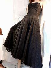 PUR VINTAGE 60 ROBE BUSTIER DENTELLE NOIRE / 38/40/ BLACK LACE DRESS réf 14