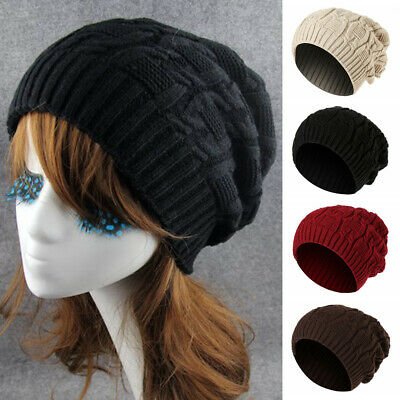 Mens Ladies Knitted Winter Slouch Beanie Hat  Hiphop Warm Cap Chunky skateboard