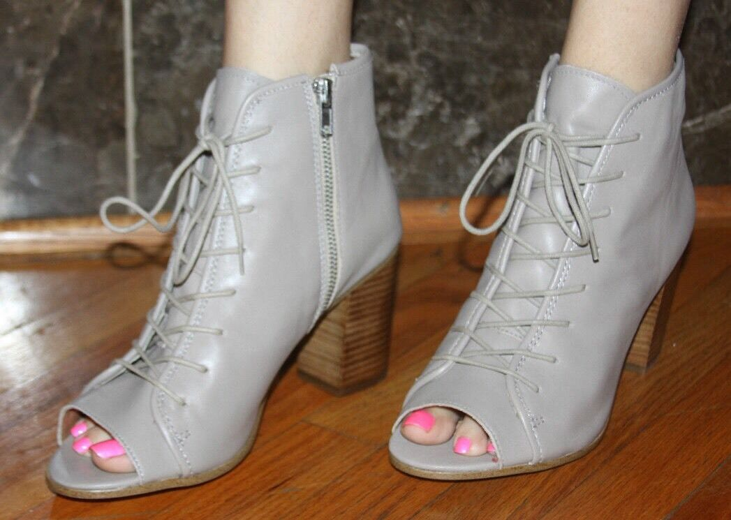 STEVE MADDEN NEELA TAUPE LEATHER LACE UP BOOTIE SIZE 10