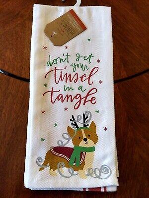 Corgi Christmas Hand Towels Season to Sparkle Cotton Kitchen Bathroom Corgmas