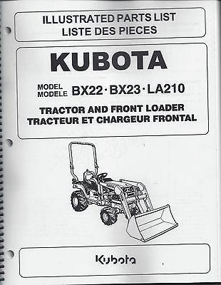 kubota bx22 bx23 la210 tractor loader illustrated parts manual ebay rh ebay com kubota bx22 workshop manual kubota bx22 shop manual