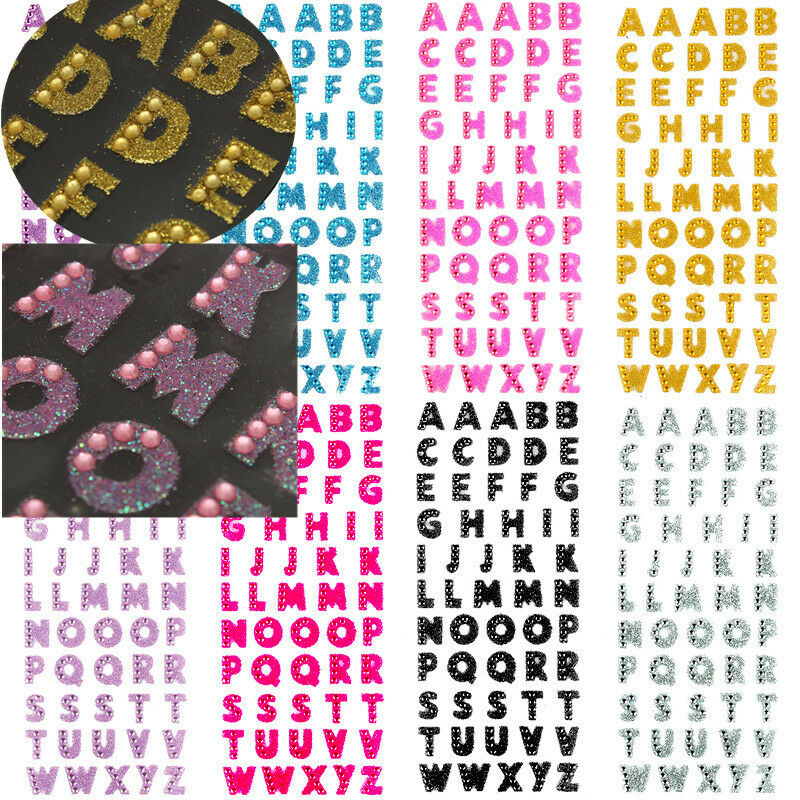 Champagne 26 Letters Self-Adhesive Stickers for DIY Art and Craft PRATIQUE Glitter Rhinestone Alphabet Letter Stickers