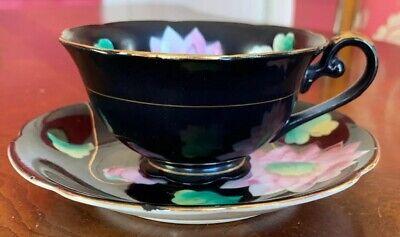 Vintage Merit Tea Cup Saucer Set Made in Occupied Japan Black