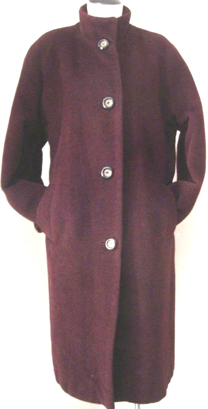 JONES NEW YORK DARK PURPLE AUBERGINE ALPACA & WOOL BLEND WINTER COAT EUC SZ 14