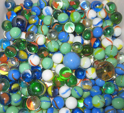 "480 - 5/16"" ASSORTED MARBLES & 12 - 1"" SHOOTERS BOWLERS NEW GLASS BULK GAME PART"