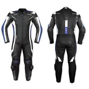 Tuta Pelle Moto Racing Pista Sport 2 Pezzi Divisibile Spezzato Prese Aria Blu