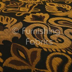 Oro Negro Material Tela Cortina Bordado Patrón Floral 137 cm de ancho BR326