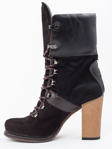 New  Moncler Dark Dark Dark Brown Pony Hair & Leather Booties Size 36  US 6 0daddb