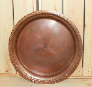 Vintage-hand-made-round-wrought-copper-serving-tray